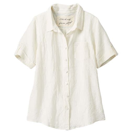 【レディース大きいサイズ】 フレンチリネン半袖シャツ(麻100%)