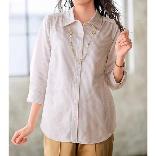 【レディース大きいサイズ】 カットソーシャツ(7分袖)の通販