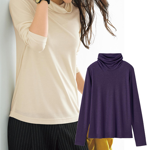 【SALE】 【レディース】 ウール混ルーズネックTシャツ