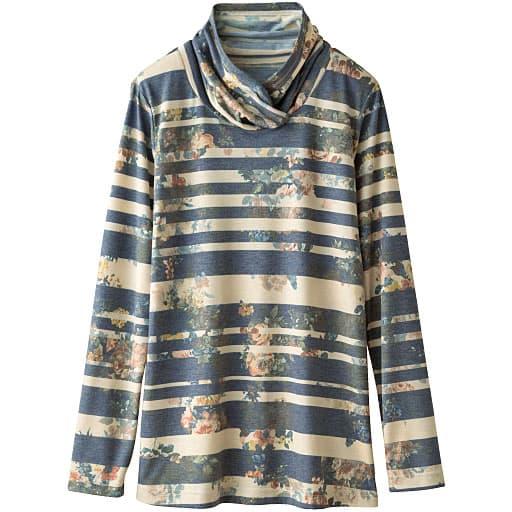 【レディース】 重ねハイネック衿プリントTシャツの通販