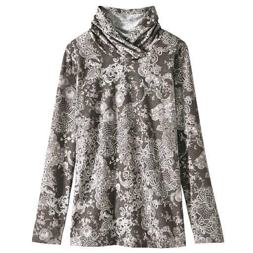 【SALE】 【レディース】 重ねハイネック衿プリントTシャツの通販
