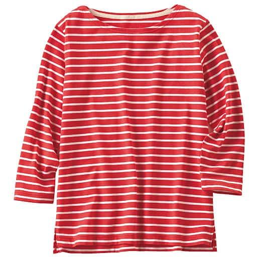 【SALE】 【レディース】 ボートネックボーダーTシャツ(七分袖)の通販