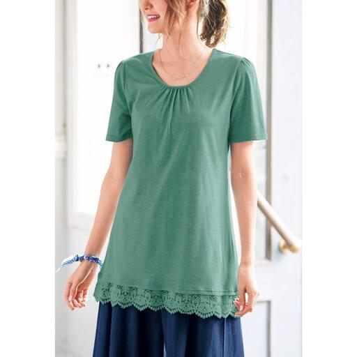 【レディース大きいサイズ】 裾レースロングTシャツ(L-10L)の通販