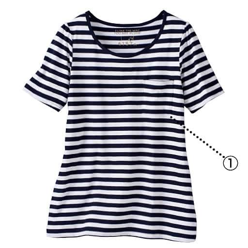 【レディース大きいサイズ】 コットンモダールクルーネックTシャツ