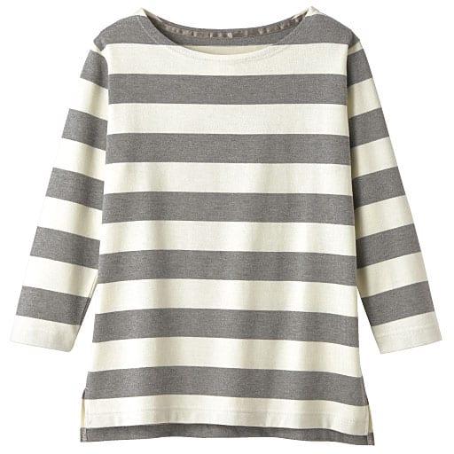 【レディース】 ボートネックボーダーTシャツ(7分袖)の通販