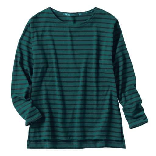 【SALE】 【レディース】 裏起毛ボーダーボートネックTシャツの通販