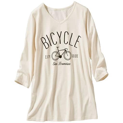 【レディース大きいサイズ】 7分袖VネックプリントTシャツの通販