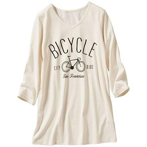 【SALE】 【レディース大きいサイズ】 7分袖VネックプリントTシャツ(綿100%・L-10L)の通販