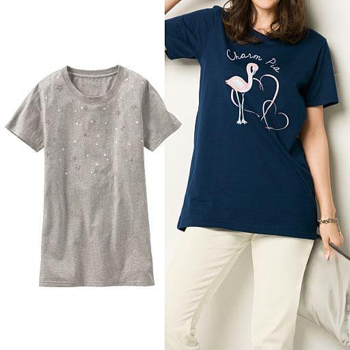 【レディース】 プリントロングTシャツ
