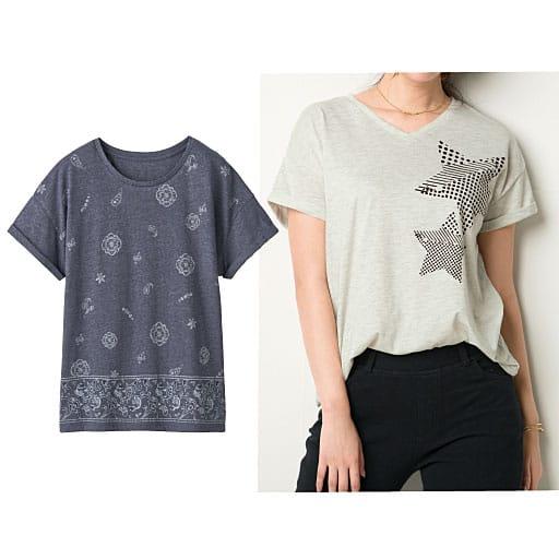 【レディース】 衿ぐりデザインが選べるプリントTシャツ(半袖)