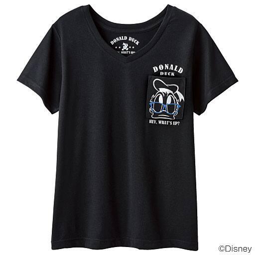 【SALE】 【レディース】 Vネックポケット付きTシャツ(ディズニー)の通販