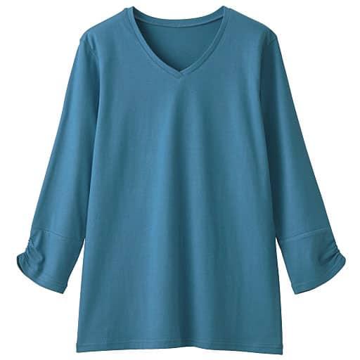 【SALE】 【レディース】 VネックギャザースリーブTシャツ(7分袖)の通販