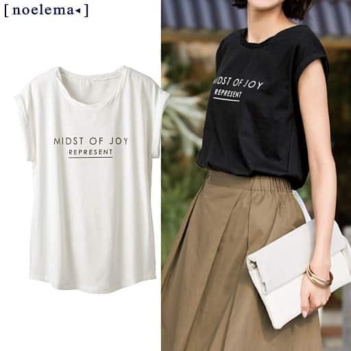 【レディース】 衿ねじりプリントTシャツ