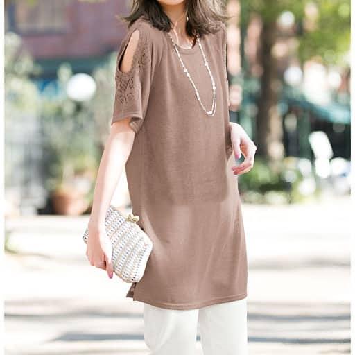 【SALE】 【レディース大きいサイズ】 オープンショルダーレースTシャツの通販