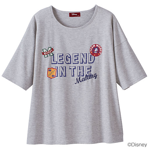 【SALE】 【レディース大きいサイズ】 5分袖ドロップショルダーTシャツ(ディズニー)の通販