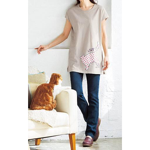 【SALE】 【レディース】 ネコプリントロングTシャツ(USPP)の通販