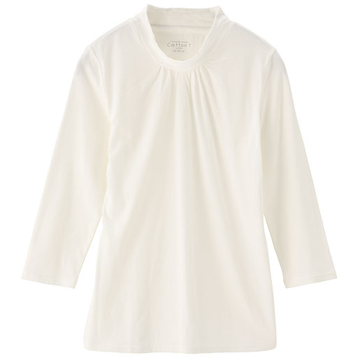 【SALE】 【レディース】 ハイネックギャザーTシャツ(7分袖)の通販