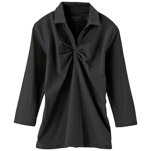 【SALE】 【レディース】 スキッパー衿ギャザーTシャツ(7分袖)の通販