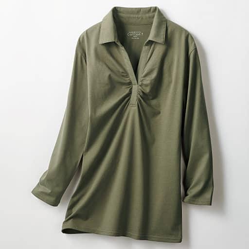 【SALE】 【レディース】 スキッパー衿ギャザーTシャツ(7分袖)