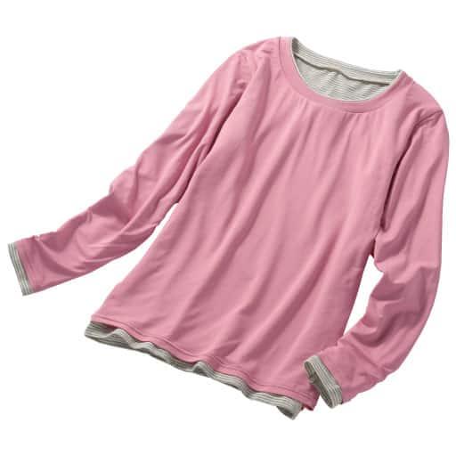 【SALE】 【レディース】 スマートヒート2枚仕立てクルーネックTシャツ(S-5L・静電気防止・吸湿発熱・吸汗速乾)