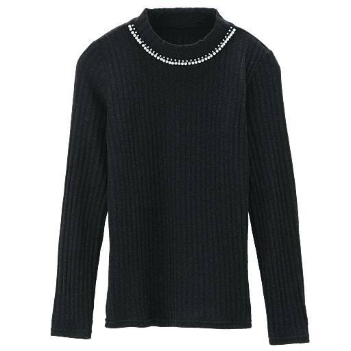 【レディース】 襟ぐりビジュー使いハイネックTシャツの通販
