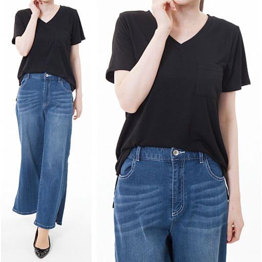【SALE】 【レディース】 ポリウレタン混でほどよく伸びる素材のVネックTシャツの通販