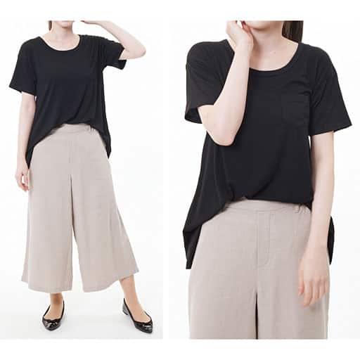 【SALE】 【レディース】 ポリウレタン混でほどよく伸びる素材のイレヘムTシャツの通販
