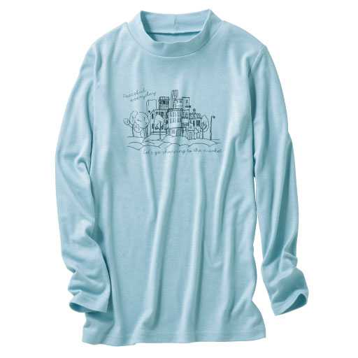 【SALE】 【レディース】 ハイネックプリントTシャツ(S-5L)の通販