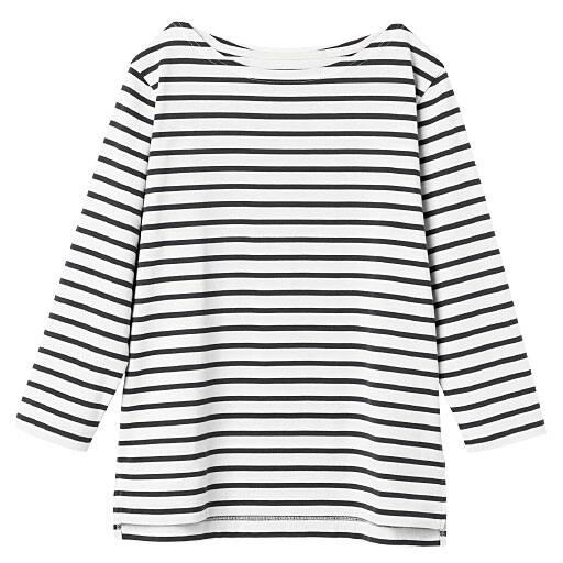 【レディース】 ボートネックボーダーTシャツ(七分袖)(S-5L)の通販