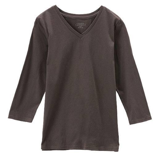 【レディース】 Vネック7分袖カットソー(綿100%)の通販