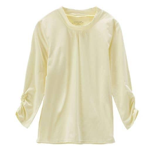 【レディース】 ハイネックギャザーTシャツ(7分袖)(綿100%)の通販