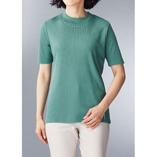 【レディース】 ラインストーン使い5分袖Tシャツ(洗濯機OK)の通販