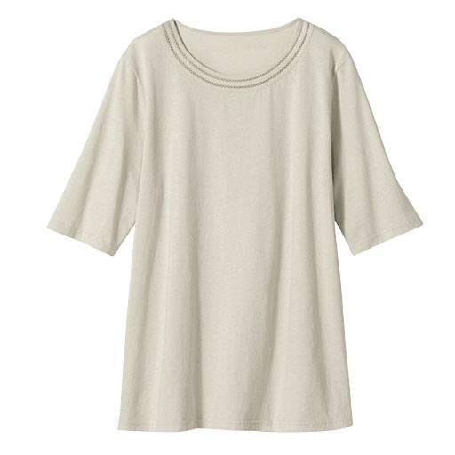 【レディース】 オーガニックコットン UVカット ピコ使い5分袖Tシャツ(日本製・綿100%)の通販