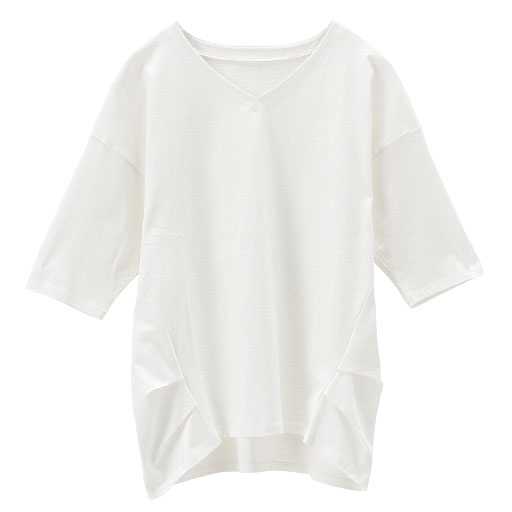 【レディース】 大人きれいなコットンVネックタック入りTシャツ(綿100%)の通販