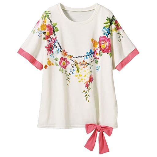 【レディース大きいサイズ】 リボン使いTシャツの通販