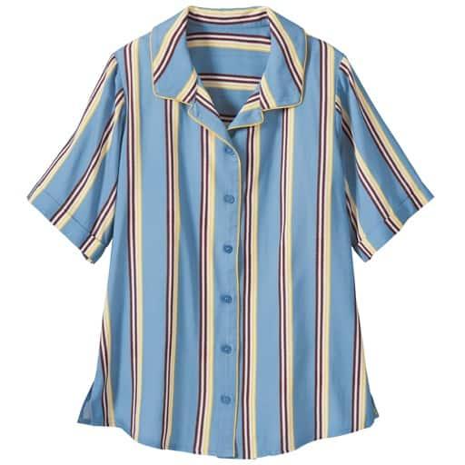 【レディース大きいサイズ】 パイピングシャツ 5L、6L、L、3L、LL、4L ブルー