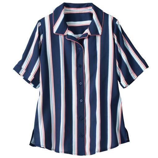 【レディース大きいサイズ】 パイピングシャツ LL、6L、3L、4L、5L、L ブルー