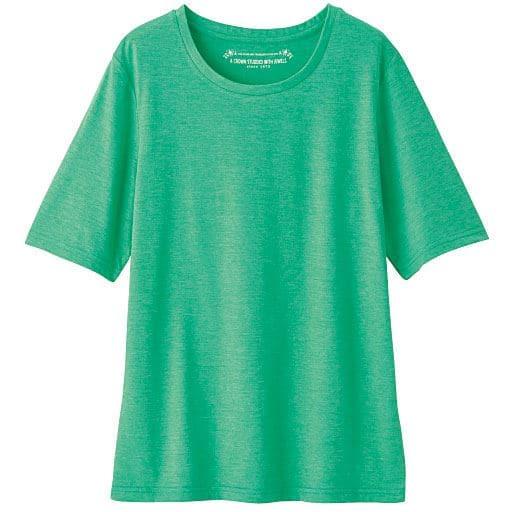 【レディース】 シンプルTシャツ(4分袖)