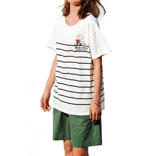 50%OFF【レディース大きいサイズ】 ボーダーTシャツ(スヌーピー) - セシール
