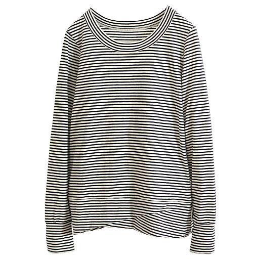 【レディース】 ムラ糸天竺のねじりデザイン長袖Tシャツ(綿100%) - セシール