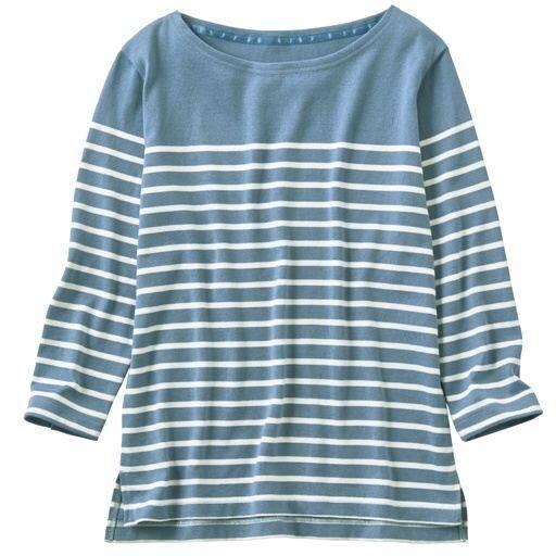 【レディース】 ボートネックボーダーTシャツ(7分袖)(選べる2レングス) - セシール