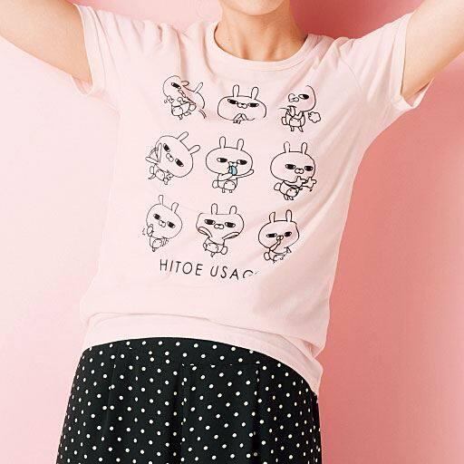 【レディース】 プリントTシャツ(ひとえうさぎ)