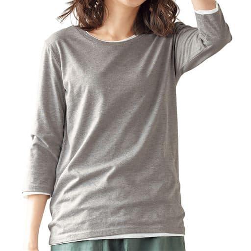 【レディース】 シンプルクルーネックTシャツ(7分袖)