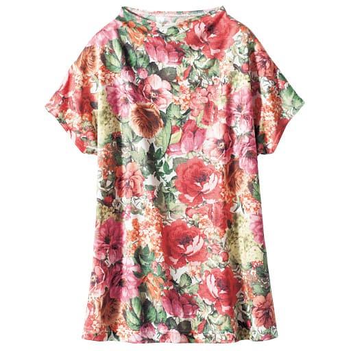 【SALE】 【レディース】 ボトルネックフレンチスリーブプリントTシャツ