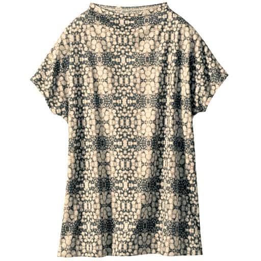 【SALE】 【レディース】 ボトルネックフレンチスリーブプリントTシャツの通販