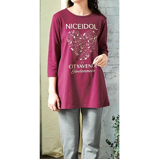 【レディース】 チュニック丈7分袖Tシャツ(綿100%・ルームウェア)