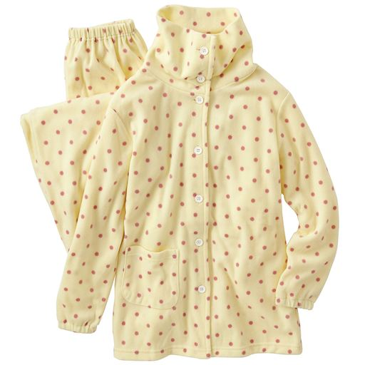 【レディース】 ドット柄が可愛いあったかハイネックパジャマ(水玉フリース)の通販