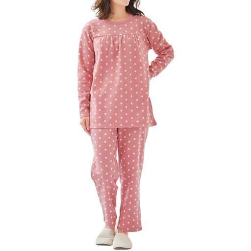 【SALE】 【レディース】 ドット柄が可愛いあったかTタイプパジャマ(水玉フリース)の通販