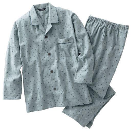 【メンズ】 日本製ビエラ起毛小紋柄プリントパジャマ