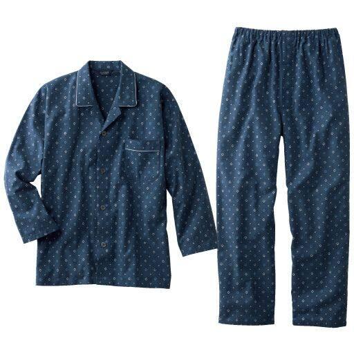 【メンズ】 日本製ビエラ起毛小紋柄プリントパジャマ – セシール